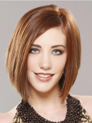 """Fashion 12"""" Remy Human Hair Straight Human Lace Front Wigs Bob Style"""