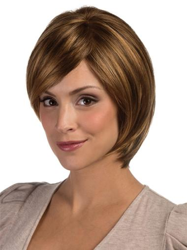 Brown Chin Length Sleek Bob Gorgeous Synthetic Lace Front Wigs