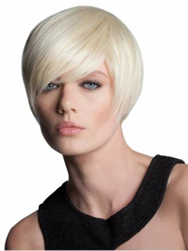 7 Inches Synthetic Blonde Short Straight Blonde Bob Capless Wig