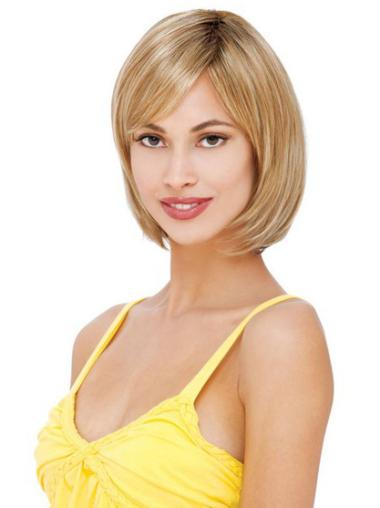 Chin Length Bobs Straight Lace Front Blonde Real Human Hair Wigs