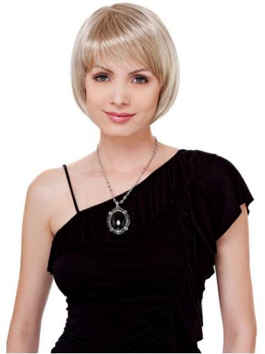 Chin Length Blonde Bobs Straight Lace Front Affordable Human Wigs