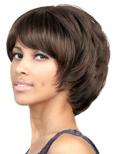 Synthetic Brown Chin Length Trendy Wavy Bob Wig