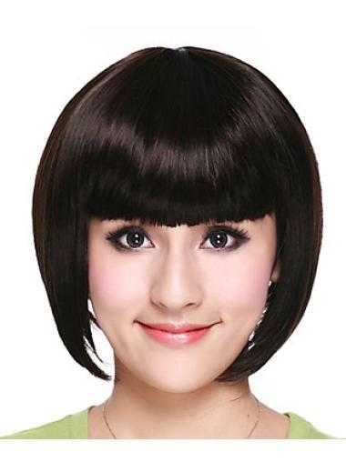 Black Straight 8 Inches Capless Chin Length Comfortable Bob Hair Wigs