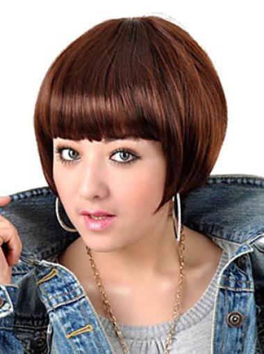 Auburn Straight 0 Capless Short Soft Woman Wigs Bob