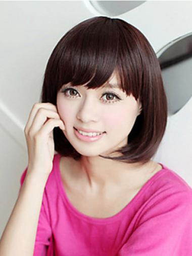 Durable 10 Inches Straight Blonde Bob Cheap Synthetic Lace Wigs