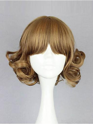 Blonde Wavy 12 Inches Capless Chin Length Exquisite Bob Wig With Bangs