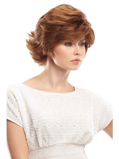 "Suitable 11"" Auburn Wavy Shortcut Human Hair Wigs"