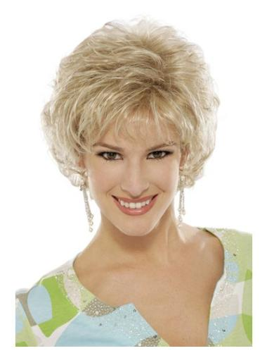 6 Inches Curly Blonde Good Classic Womens Capless Synthetic Wig