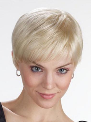 Synthetic Straight With Bangs Short Hair Lace Front Wigs