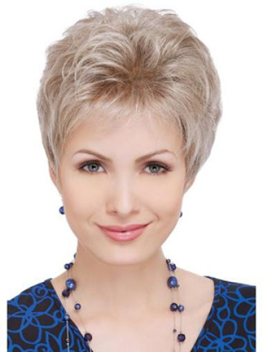 Natural Layered Short Hair Wigs For Older Women