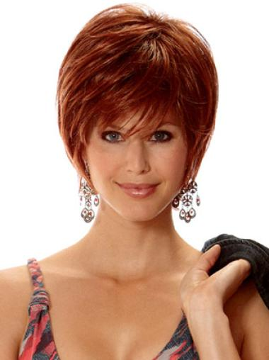 Amazing Short Layered Capless Wig For Elderly Ladies