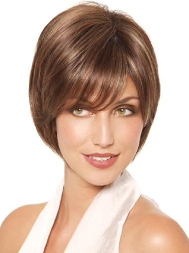 Monofilament Brown Chin Length Cheap Synthetic Bob Hair Styled Wigs