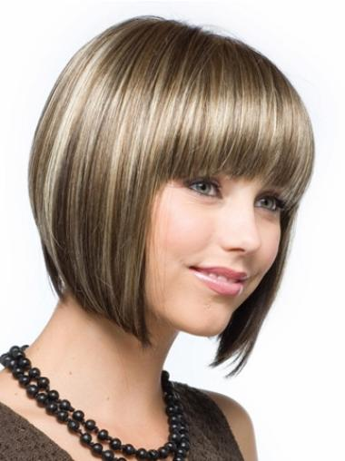 Beautiful Chin Length Straight Bobs Medium Brown Wig
