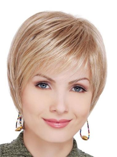 Designed Short Layered Lace Front Wig For Older Women