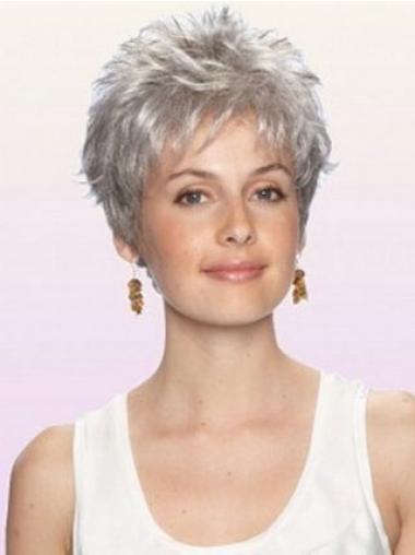 Modern Synthetic Capless Wavy Cheap Gray Wigs
