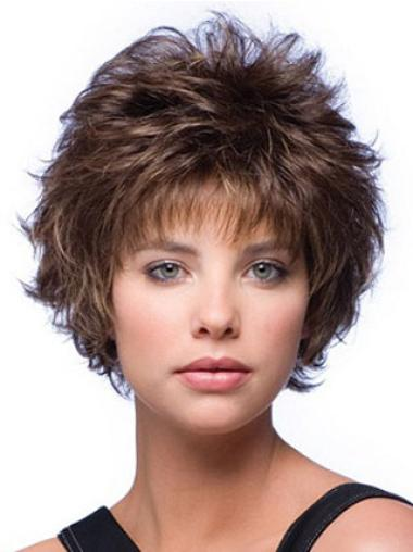 Top Brown Layered Wigs Short Wavy