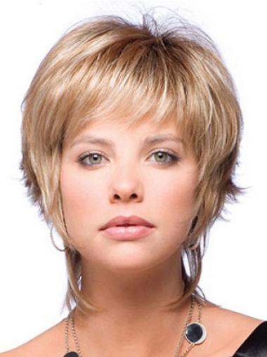 Stylish Blonde Boycuts Short Straight Wigs For Women