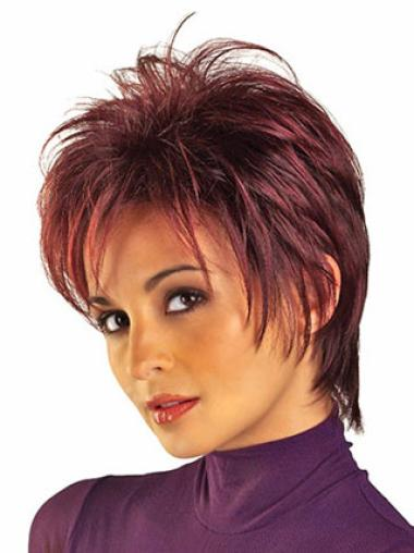 Trendy Red Boycuts Short Straight Wigs With Color