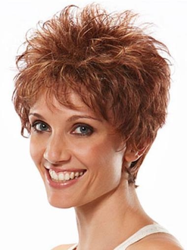 Soft Auburn Boycuts Natural Wavy Short Wigs