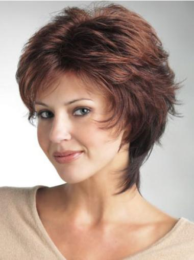 Durable 12 Inches Short Straight Auburn Classic Monofilament Wigs