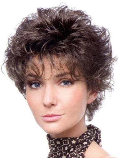 Cropped Fashionable Curly Classic Tempting Synthetic Brown Wigs