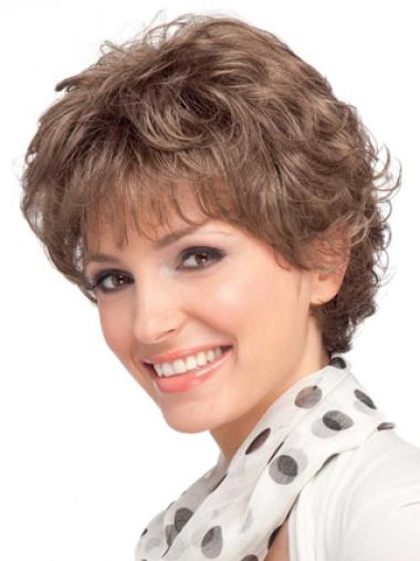 Short Gorgeous Auburn Wavy Classic Hair Design Real Hair Wigs