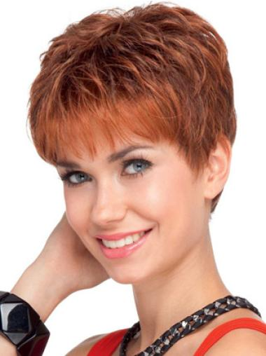 """Lace Front Boycuts Wavy 4"""" Flexibility 100% Red Human Hair Wigs"""