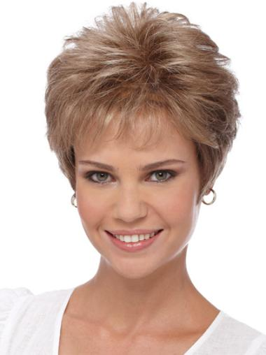 Cheapest Cropped Boycuts Capless Wigs For Elderly Woman