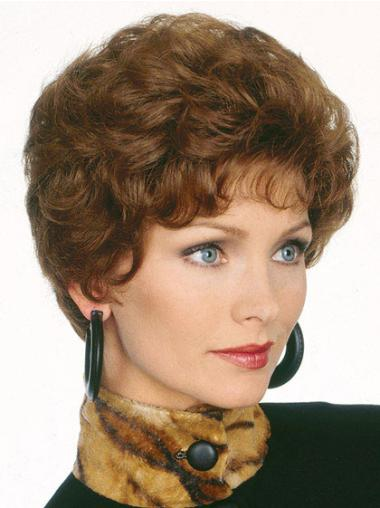 Short Popular Brown Wavy Classic Capless Synthetic Wigs