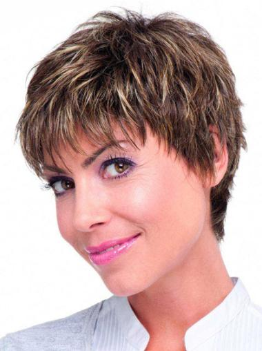 """Monofilament Boycuts Straight 6""""Best Rated Straight Human Hair Wig"""
