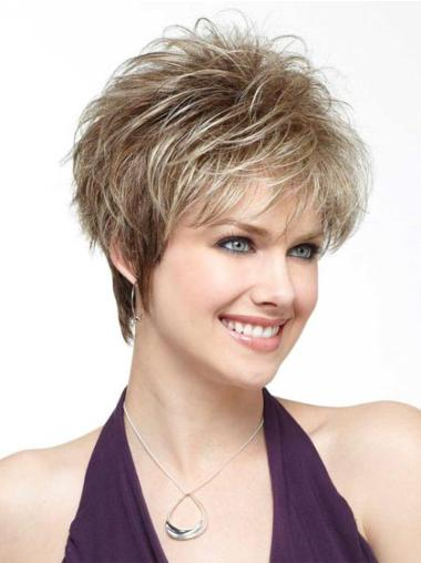 Synthetic Blonde Lace Straight Short Baby Hair Wig