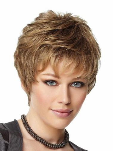 Synthetic Wavy Brown Short Brown Wigs