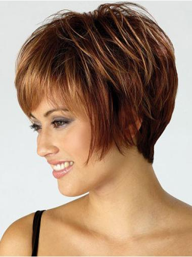 Synthetic Auburn Short Straight Bob Wigs