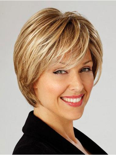 Designed Blonde Straight Short Hair For Older Ladies