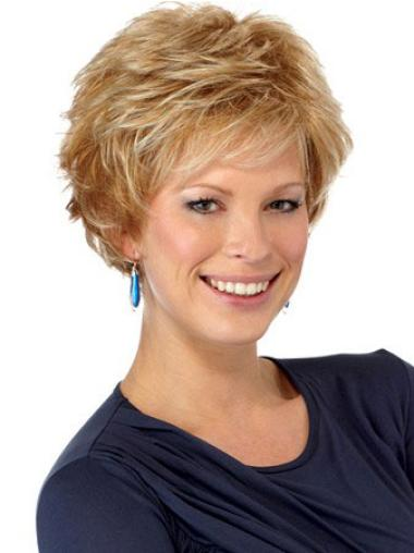 Synthetic Wavy Auburn Auburn Short Wig