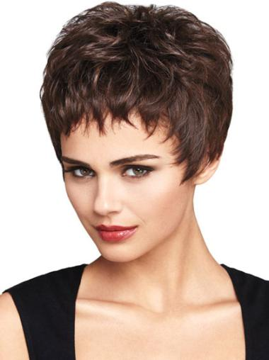 Synthetic Wavy Boycuts Lace Front Short Cut Wigs