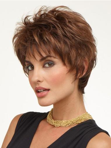 Synthetic Wavy Cheap Short Haired Auburn Wigs