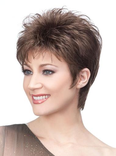 Modern Cropped Boycuts Capless Elderly Lady Wigs
