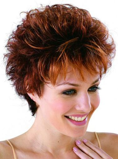 Auburn Cropped Classic Wavy Synthetic Wigs
