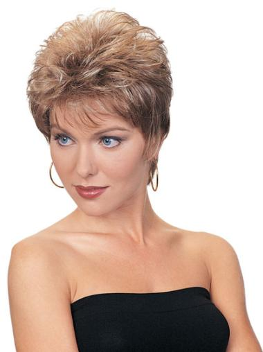 Synthetic Wavy Short Auburn Petite Wig