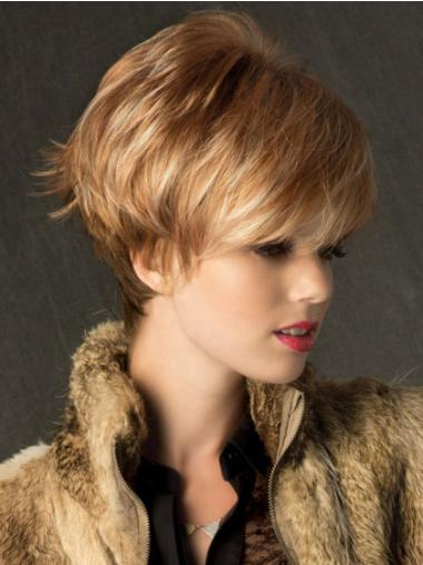 Cropped Synthetic 6 Inches Wigs Blonde Short
