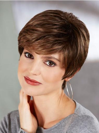 Cropped Synthetic 6 Inches Short Ash Brown Wig