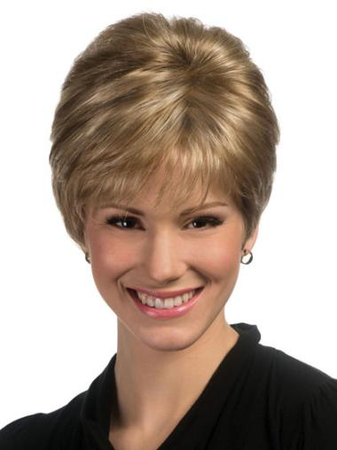 Synthetic Boycuts Blonde Best Wigs For Elderly