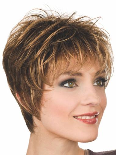 Cropped Synthetic 8 Inches Real Short Auburn Wigs