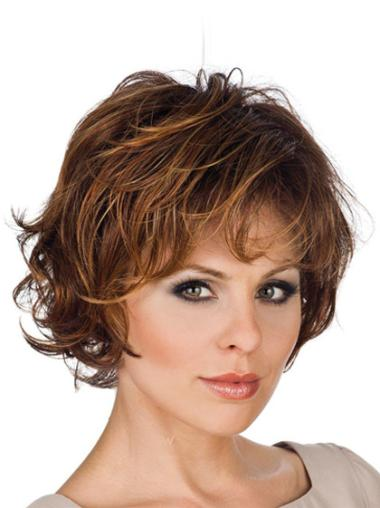 Brown Wavy Synthetic Modern Wig With Lace