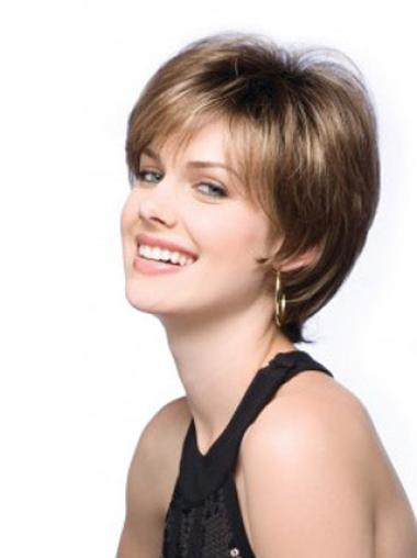 Synthetic Straight Boycuts Short Cut Lace Front Wigs