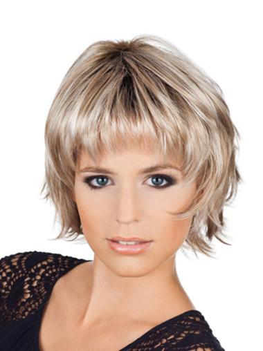 Hairstyles Chin Length Wavy Bobs Blonde Wigs Medium