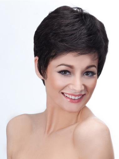 Cropped Synthetic 4 Inches Short Black Wigs