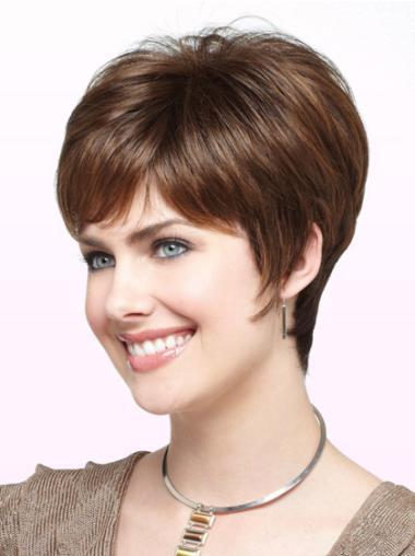 Auburn 6 Inches Boycuts Straight Synthetic Best Elderly Women Wigs