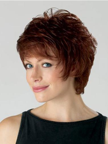 Synthetic Layered Auburn Beautiful Hair Wigs For Elderly